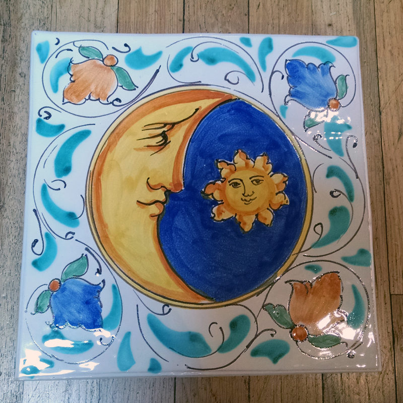 Large Square Sun And Moon Italian Pottery Outlet