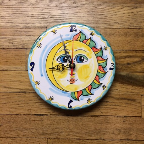 Hand Painted Sun Moon Clock