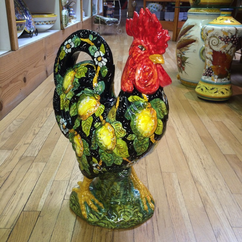Large Black Tuscan Rooster with Lemons