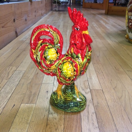 Large Red Tuscan Rooster with Lemons