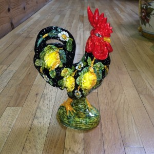 Small Black Tuscan Rooster with Lemons