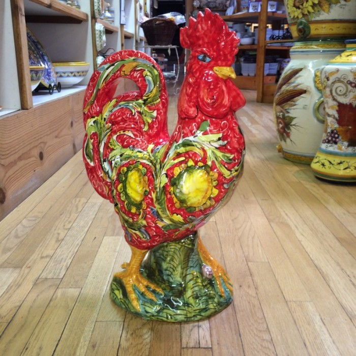Small Red Tuscan Rooster with Lemons