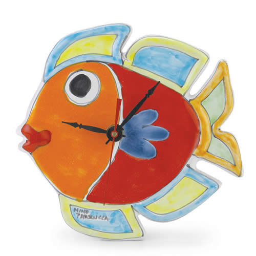 Fish Shaped Clock Italian Pottery Outlet