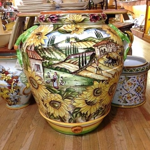 Country Scene with Sunflowers Urn