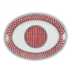 Geometrico Oval Platter Rosso