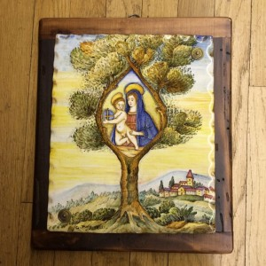 Madonna and Child In Tree Ceramic Painting