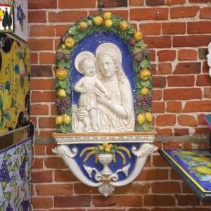 Large 2 Piece della Robbia Style Wall Sculpture