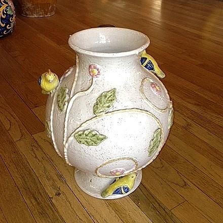 Handmade Ceramic Birds Vase Italian Pottery Outlet