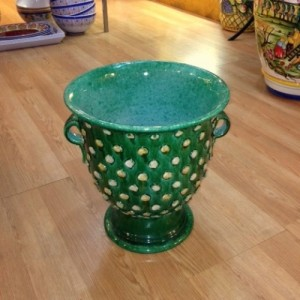 Green Footed Cachepot with Dots