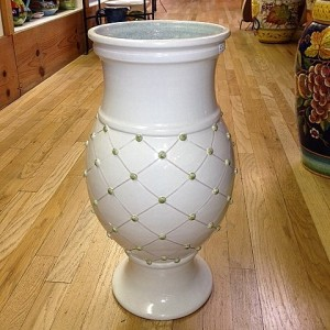 Umbrella Stand - Cream with Green Dots