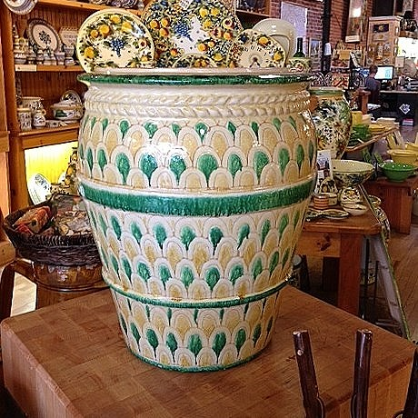 Decorative Urn with Green & Yellow Scales