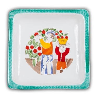 De Simone Square Art Plate - Orange Pickers