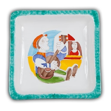 De Simone Square Art Plate - Chitarra