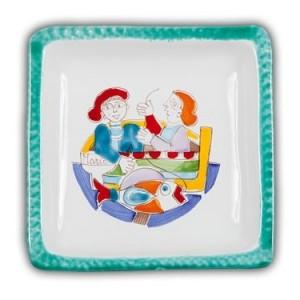 De Simone Square Art Plate - Fishermen