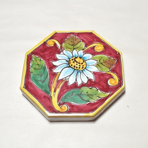 Octagonal Red Daisy Tile