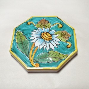 Octagonal Turquoise Daisy Tile