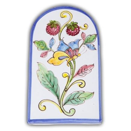 Small Arch-shaped Tile - Berries & Butterfly