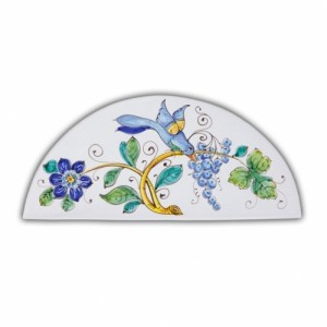 Wide Arch-Shaped Tile - Bird & Grapes