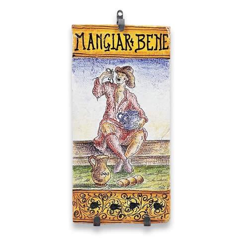"Large Rectangular Tile - ""Mangiare Bene"""