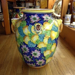 Lemons and Pink Flowers Urn