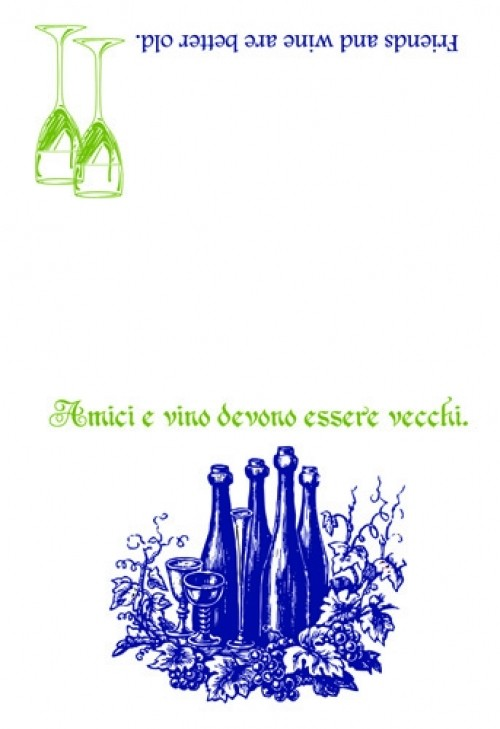 Friends and Wine Italian Proverb Dishtowel