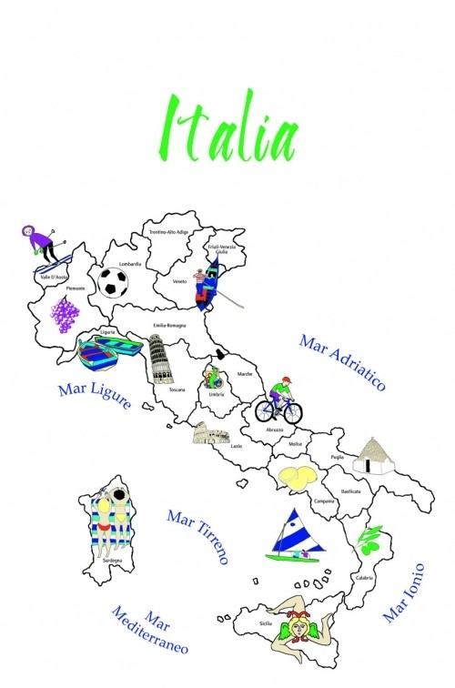 Map of Italy - Dishtowel
