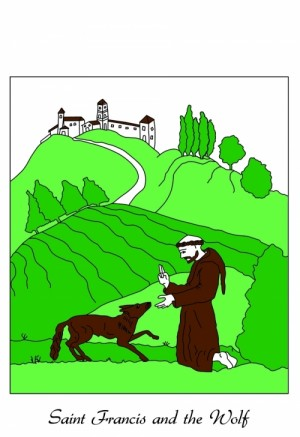 Saint Francis and the Wolf of Gubbio Dishtowel