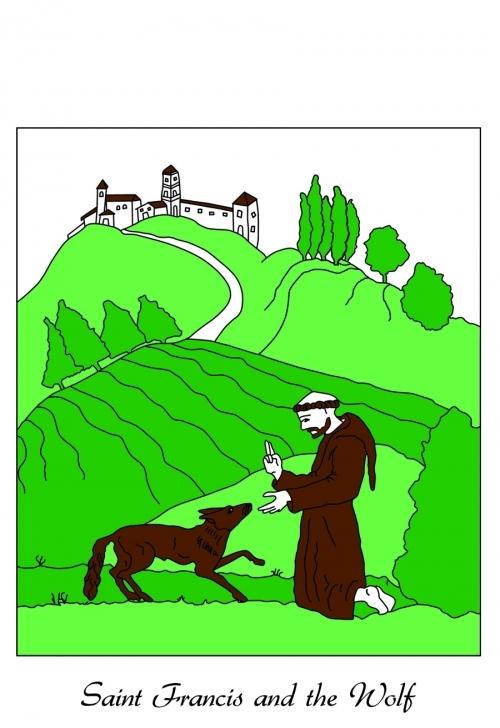 Saint Francis and the Wolf of Gubbio Dishtowel