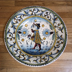 Falconry Man Majolica Bowl