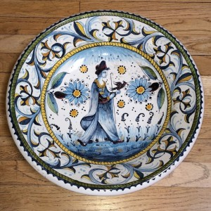 Falconry Woman Majolica Bowl