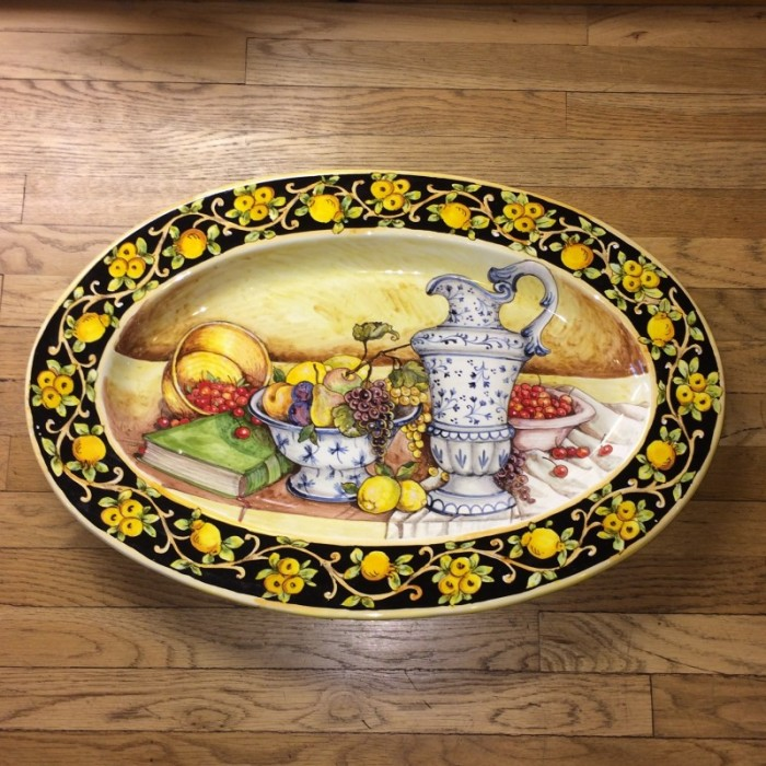 Tuscan Still Life Oval Platter with Lemons