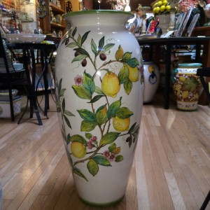 Tuscan Tall Urn with Lemons and Olives