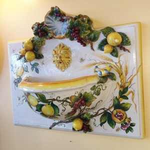 Tuscan Wall Fountain with Birds and Lemons