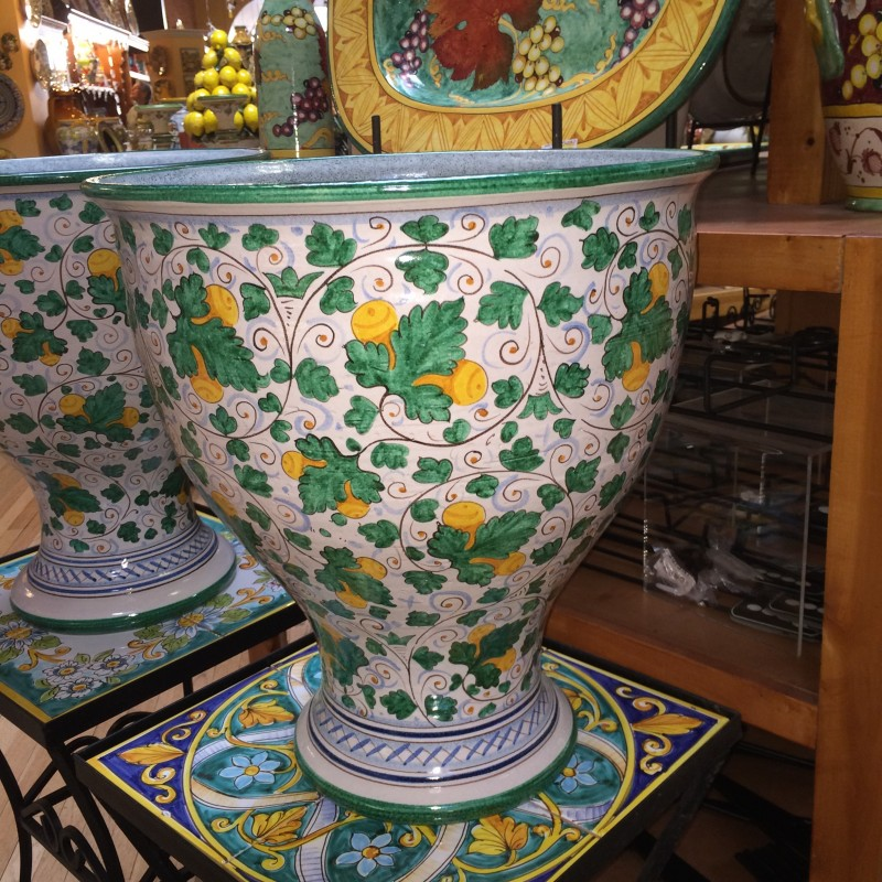 Tuscan Bell-Shaped Green Leaf with Fruit  Urn or Planter