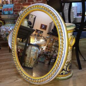 Oval Italian Ceramic Tuscan Mirror