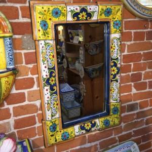 Rectangular Italian Ceramic Tuscan Mirror