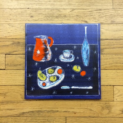 Still Life Tile Wall Hanging Pitcher and Fruit