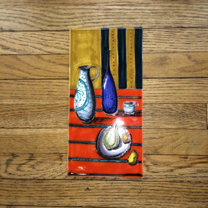 Still Life Tile Orange Stripe Tablecloth