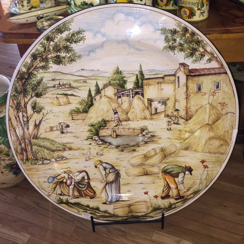 Tuscan Harvest Scene Decorative Platter & Tuscan Harvest Scene Large Decorative Platter - Italian Pottery Outlet