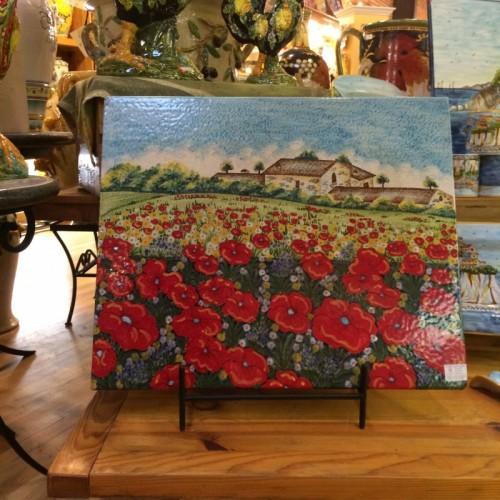 Tuscan Poppies Large Tile Panel