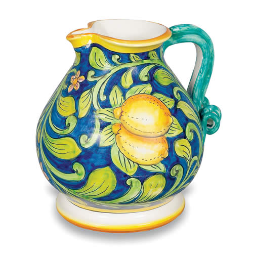 Ornato Pitcher With Lemons And Leaves Italian Pottery Outlet