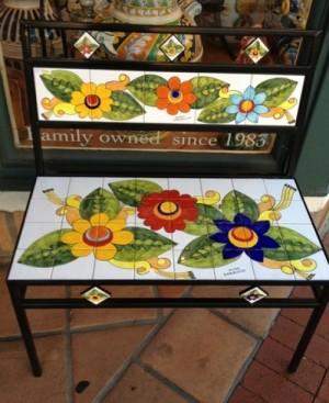 Parrucca Tile Bench - Flower design