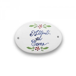 "Quadri Oval Plaque - ""Attenti al Cane"""