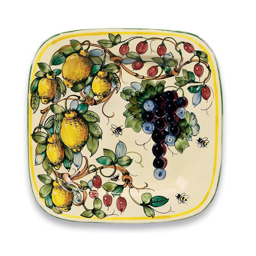 Handmade Ceramic Platter In Coastal Kitchen: Toscana Bees Ceramic Square Platter