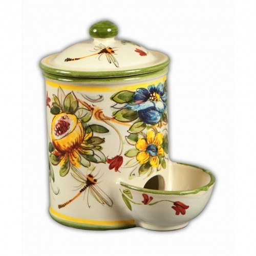 Toscana Fiori Salt Container with Pinch Well