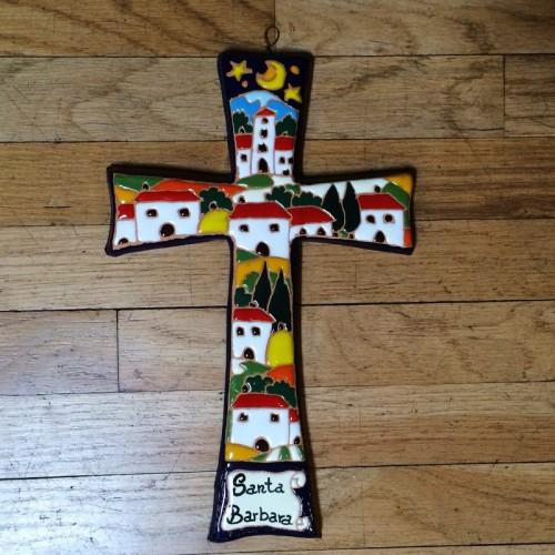Handmade Relief Cross - Small Nighttime Scene