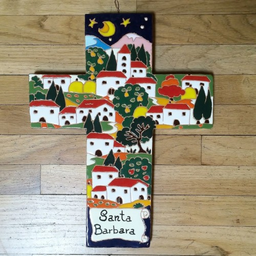 Handmade Relief Cross - Large Nighttime Scene