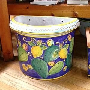 Small Flatback Planter - Lemons & Cactus