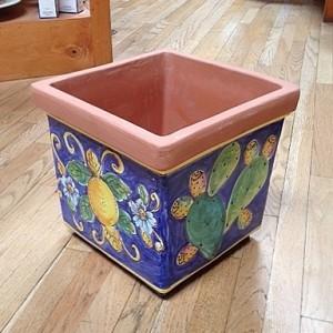 Square Planter - Lemons & Cactus - Blue