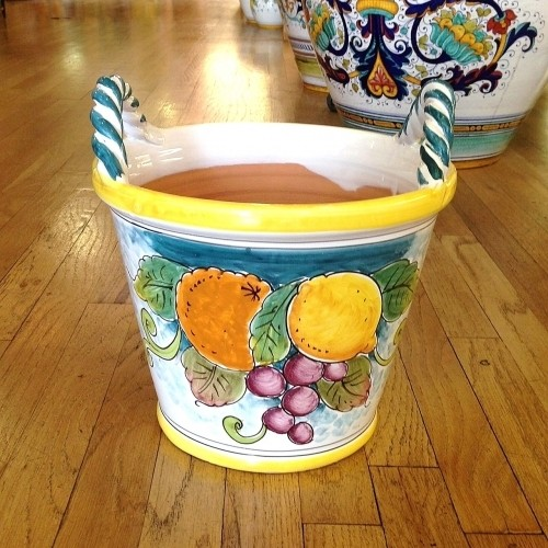 Medium Handled Flowerpot - Fruit on Teal